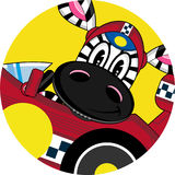 Cartoon Zebra in Racing Car. An EPS file is also available Royalty Free Stock Photography