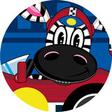 Cartoon Zebra in Racing Car. An EPS file is also available Royalty Free Stock Images