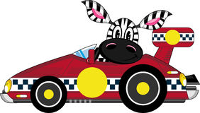 Cartoon Zebra in Racing Car. An EPS file is also available Stock Photography