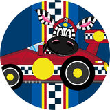 Cartoon Zebra in Racing Car. An EPS file is also available Stock Photo