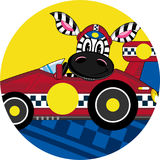Cartoon Zebra in Racing Car. An EPS file is also available Stock Image