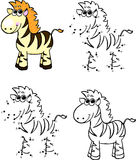 Cartoon zebra. Vector illustration. Coloring and dot to dot game Royalty Free Stock Photo
