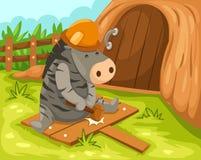 Cartoon zebra working Stock Images