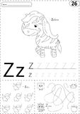 Cartoon zebra and zebu. Alphabet tracing worksheet: writing A-Z Stock Images