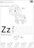 Cartoon zebra and zebu. Alphabet tracing worksheet: writing A-Z Royalty Free Stock Photo