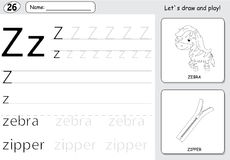 Cartoon zebra and zipper. Alphabet tracing worksheet: writing A-. Z, coloring book and educational game for kids Royalty Free Stock Images