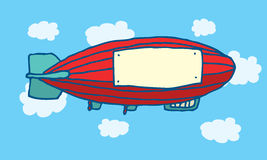 Cartoon zeppelin with blank advertising space Royalty Free Stock Photo