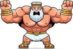 Cartoon Zeus Angry. A cartoon illustration of Zeus looking angry Stock Images