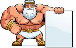 Cartoon Zeus Sign. A cartoon illustration of Zeus with a sign Stock Photo