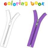 Cartoon zipper. Coloring book for kids Stock Photography