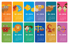 Cartoon zodiac - calendar 2016 Royalty Free Stock Photo