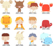 Cartoon zodiac manga symbols Stock Photography