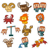 Cartoon Zodiac signs. Set of Vector illustrations of cute funny cheerful zodiacs with rectangular faces Stock Photo