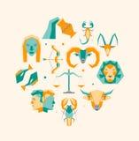 Cartoon Zodiac Symbol Round Design Template Icons Set. Vector Stock Photography