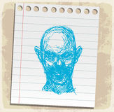 Cartoon zombi on paper note, vector illustration Stock Photography