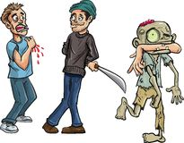 Cartoon of zombie biting a mans arm off Royalty Free Stock Images