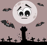Cartoon zombie cat paw in the cemetery halloween night Royalty Free Stock Images