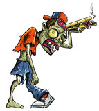 Cartoon zombie delivering pizza Royalty Free Stock Image