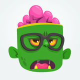 Cartoon zombie face wearing eyeglasses cartoon. Zombie nerd. Halloween vector illustration. Royalty Free Stock Image