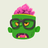 Cartoon zombie face wearing eyeglasses cartoon. Zombie smart. Halloween vector illustration. Royalty Free Stock Image