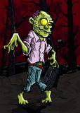 Cartoon zombie in a graveyard Stock Photography
