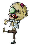 Cartoon zombie with a grotesque eye. Vector illustration of a cartoon zombie with a grotesque green eye, cracked skull and ragged clothing isolated on white for royalty free illustration