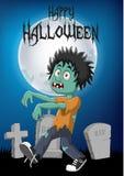Cartoon zombie with halloween background Stock Photos