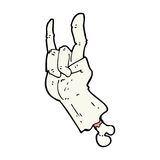 Cartoon zombie hand making rock symbol Stock Images