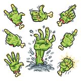Cartoon Zombie Hands Set for Horror Design Stock Photos