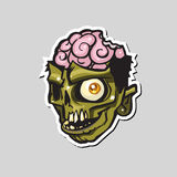 Cartoon zombie head. Vector illustration. Royalty Free Stock Photo