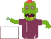 Cartoon zombie holding blank signboard. Flat illustration stock illustration