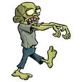 Cartoon zombie isolated on white royalty free stock photography