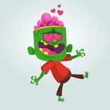 Cartoon zombie in love. Halloween vector illustration of walking zombie in red t-shire and brown pants. Royalty Free Stock Images