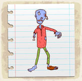 Cartoon zombie  on paper note, vector illustration Royalty Free Stock Images