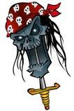 Cartoon zombie pirate. Cartoon illustration zombie pirate skull with dagger stock illustration