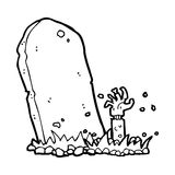 Cartoon zombie rising from grave Stock Images
