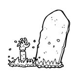 cartoon zombie rising from grave Royalty Free Stock Images