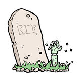 cartoon zombie rising from grave Stock Photo