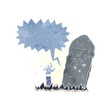cartoon zombie rising from grave with speech bubble Stock Photo