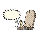 Cartoon zombie rising from grave with speech bubble Royalty Free Stock Photos