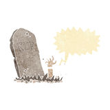 Cartoon zombie rising from grave with speech bubble Royalty Free Stock Photo