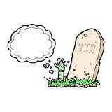 cartoon zombie rising from grave with thought bubble Stock Images