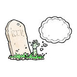 cartoon zombie rising from grave with thought bubble Royalty Free Stock Photos