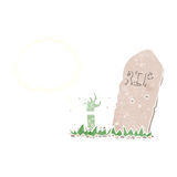 cartoon zombie rising from grave with thought bubble Stock Photography