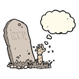 Cartoon zombie rising from grave with thought bubble Royalty Free Stock Image