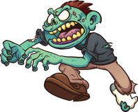 Cartoon zombie running. Running cartoon zombie. Clip art illustration with simple gradients. All in a single layer Stock Photos