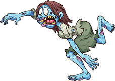 Cartoon zombie running. Running cartoon zombie woman. Clip art illustration with simple gradients. All in a single layer Stock Photography