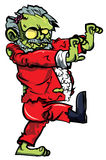 Cartoon zombie santa with one boot. Cartoon zombie Santa lurching. Isolated on white Royalty Free Stock Image