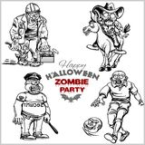 Cartoon zombie set isolated on white royalty free illustration