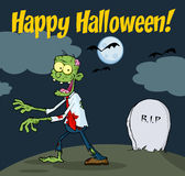 Cartoon Zombie walking with hands in night Royalty Free Stock Photography